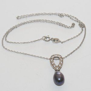 Drop Pearl CZ Pendant  in Sterling Silver Necklace